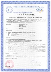 Oprávnenie TI SR- PZ- 2015-2020